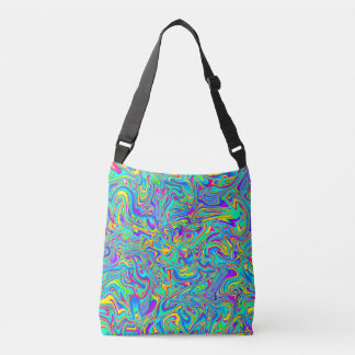 Neon Liquid Wet Paint Swirls Crossbody Bag