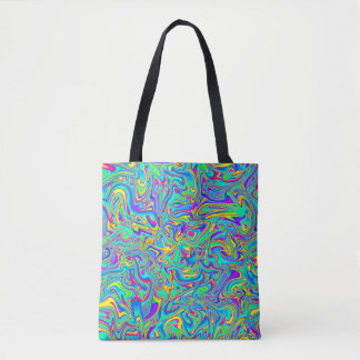 Neon Liquid Wet Paint Swirls Tote Bag