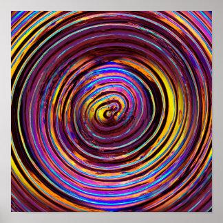Neon Lit Glass Spiral Poster