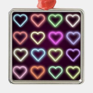 Neon Love Silver-Colored Square Decoration