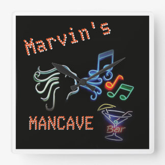 Neon Mancave Tavern Timepiece Square Wall Clock