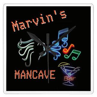 Neon Mancave Tavern Timepiece Square Wall Clock