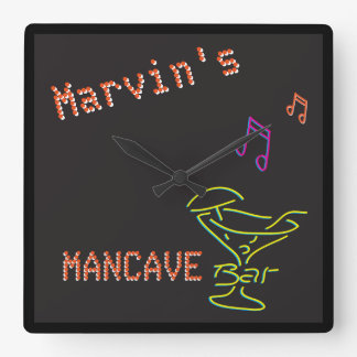 Neon Mancave Tavern Two Square Wall Clock