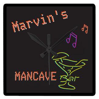 Neon Mancave Tavern Two Clocks