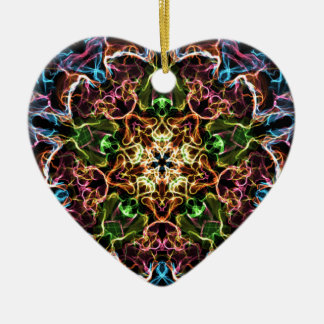 Neon Mandala Ceramic Ornament
