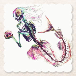 neon mermaid skeleton with customizable background paper coaster