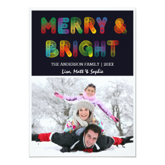 Neon Merry and Bright Christmas Card