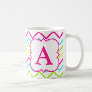 Neon Monogram Chevron Basic White Mug