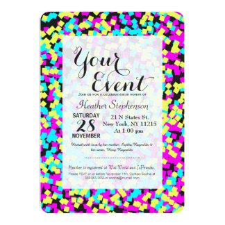 Neon Multi-Colored Fun Confetti 13 Cm X 18 Cm Invitation Card