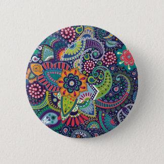 Neon Multicolor floral Paisley pattern 6 Cm Round Badge
