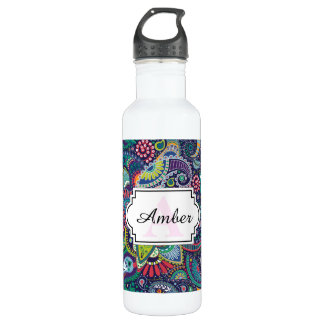 Neon Multicolor floral Paisley pattern 710 Ml Water Bottle