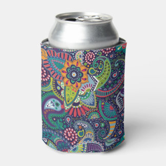 Neon Multicolor floral Paisley pattern Can Cooler