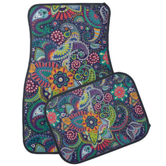 Neon Multicolor floral Paisley pattern Car Mat