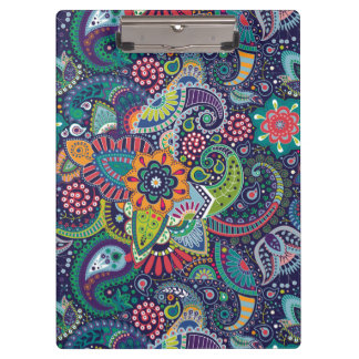Neon Multicolor floral Paisley pattern Clipboard