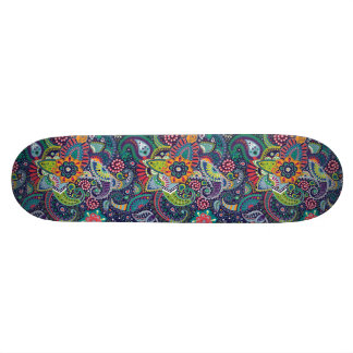 Neon Multicolor floral Paisley pattern Custom Skate Board