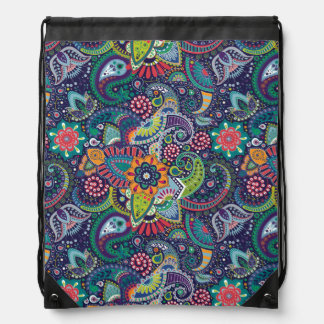 Neon Multicolor floral Paisley pattern Drawstring Bag