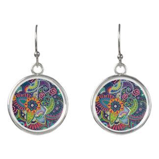 Neon Multicolor floral Paisley pattern Earrings