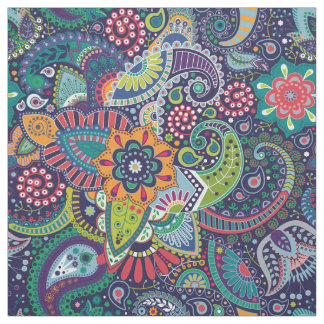 Neon Multicolor floral Paisley pattern Fabric