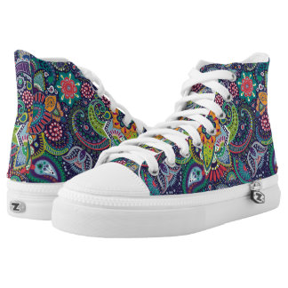 Neon Multicolor floral Paisley pattern High Tops