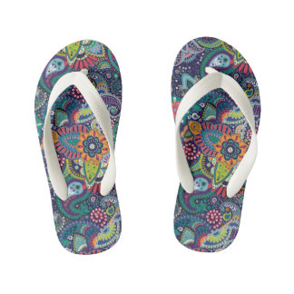 Neon Multicolor floral Paisley pattern Kid's Thongs