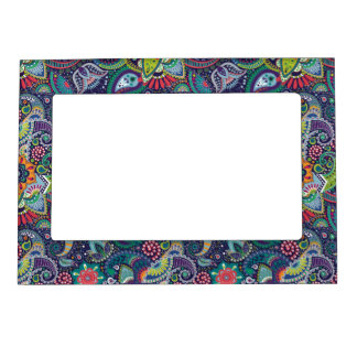 Neon Multicolor floral Paisley pattern Magnetic Frame