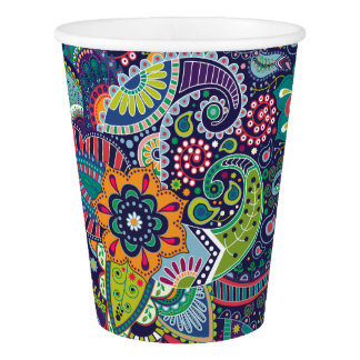Neon Multicolor floral Paisley pattern Paper Cup