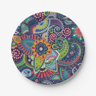 Neon Multicolor floral Paisley pattern Paper Plate