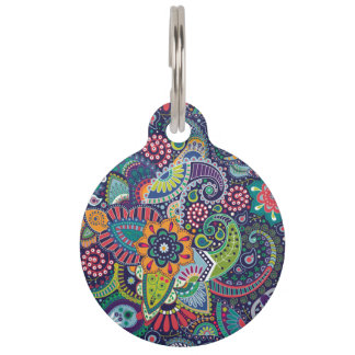 Neon Multicolor floral Paisley pattern Pet Tag