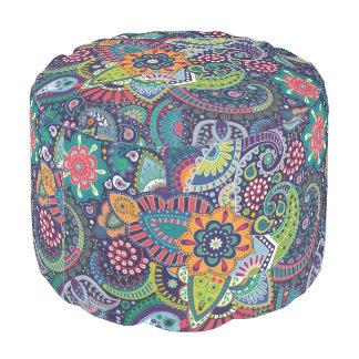 Neon Multicolor floral Paisley pattern Pouf