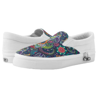 Neon Multicolor floral Paisley pattern Slip On Shoes