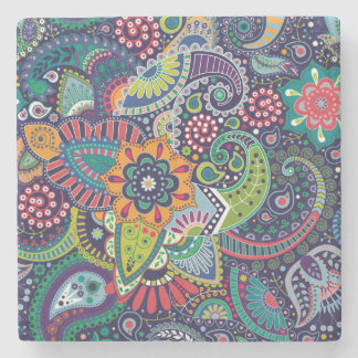 Neon Multicolor floral Paisley pattern Stone Coaster