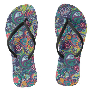 Neon Multicolor floral Paisley pattern Thongs