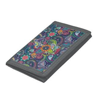 Neon Multicolor floral Paisley pattern Tri-fold Wallets