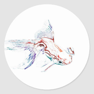 Neon Multicolor Rainbow Fish/Goldfish/Koi Classic Round Sticker