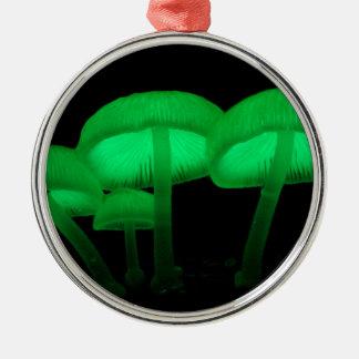 Neon Mushrooms Metal Ornament