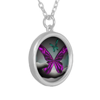 Neon Mystic Butterflies Silver Plated Necklace