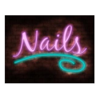 Neon Nails Sign Postcard