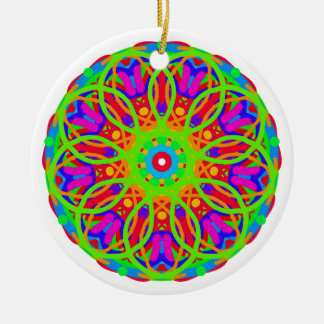 Neon Nation Mandala Design Ceramic Ornament