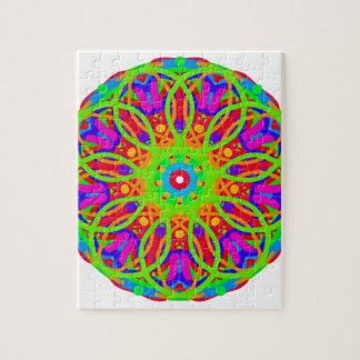 Neon Nation Mandala Design Jigsaw Puzzle