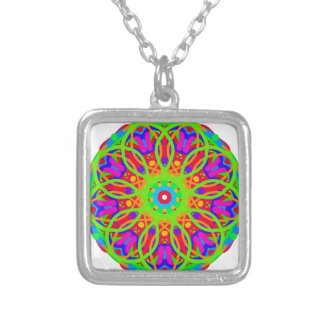 Neon Nation Mandala Design Silver Plated Necklace