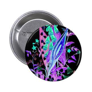 Neon Nights Flower Design Pinback Button