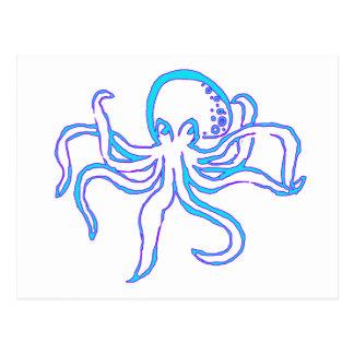 Neon Octopus Postcard
