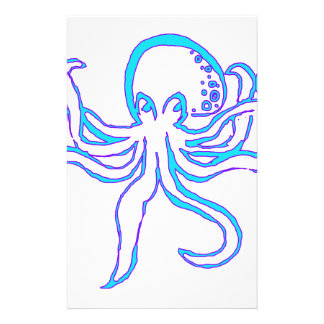 Neon Octopus Stationery