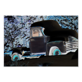Neon Old Truck Poster