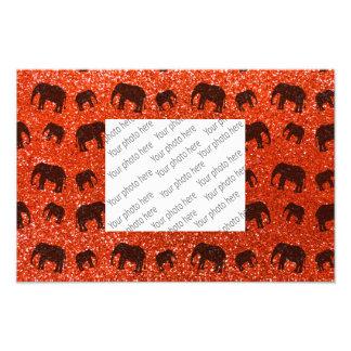 Neon orange elephant glitter pattern photographic print