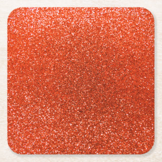 Neon orange glitter square paper coaster