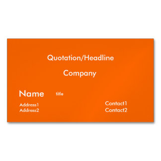 neon  orange solid color magnetic business cards