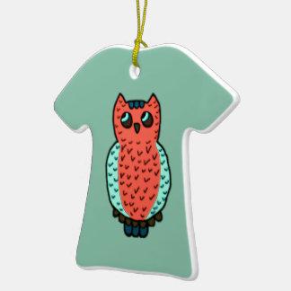 Neon Owl Ceramic T-Shirt Ornament