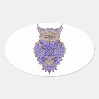 Neon Owl Oval Sticker