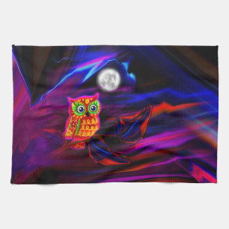 Neon Owl Thunderstorm Flash Tea Towel
